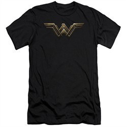 Justice League Movie Slim Fit Shirt Wonder Woman Logo Black Tee