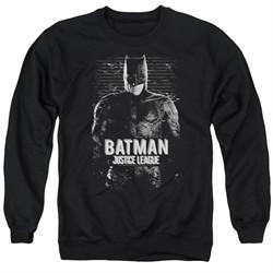 Justice League Movie Sweatshirt Batman Profile Adult Black Sweat Shirt