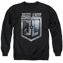 Justice League Movie Sweatshirt Shield Logo Adult Black Sweat Shirt