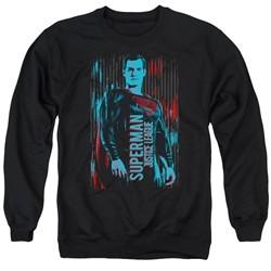 Justice League Movie Sweatshirt Superman Adult Black Sweat Shirt