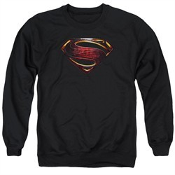 Justice League Movie Sweatshirt Superman Logo Adult Black Sweat Shirt