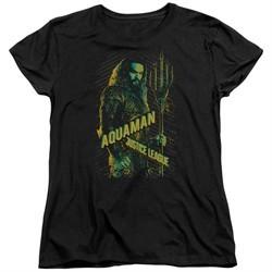Justice League Movie Womens Shirt Aquaman Black T-Shirt