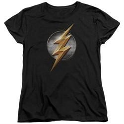 Justice League Movie Womens Shirt Flash Logo Black T-Shirt