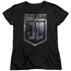 Justice League Movie Womens Shirt Shield Logo Black T-Shirt