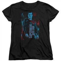 Justice League Movie Womens Shirt Superman Black T-Shirt