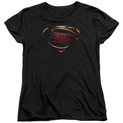 Justice League Movie Womens Shirt Superman Logo Black T-Shirt