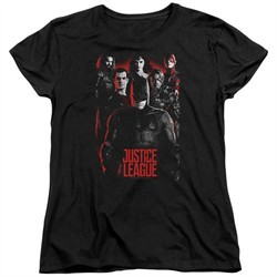 Justice League Movie Womens Shirt The League Red Glow Black T-Shirt