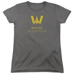 Justice League Movie Womens Shirt Wayne Aerospace Charcoal T-Shirt
