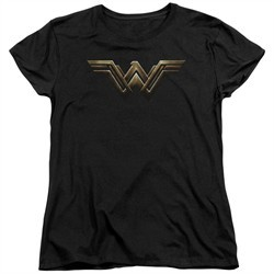 Justice League Movie Womens Shirt Wonder Woman Logo Black T-Shirt