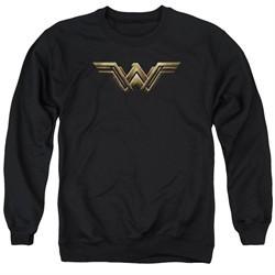 Justice League Movie Wonder Woman Logo Adult Black Sweatshirt