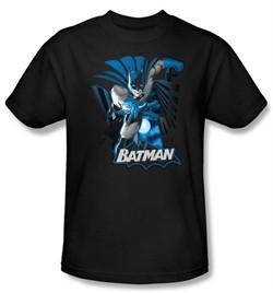 Justice League Shirt Batman Blue and Gray Superheroes Black T-Shirt