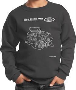 Kids Ford Sweatshirt Engine Parts Youth Sweat Shirt