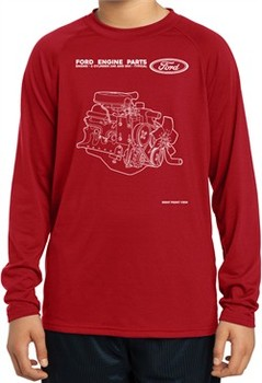 Kids Ford Tee Engine Parts Youth Dry Wicking Long Sleeve