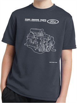 Kids Ford Tee Engine Parts Youth Dry Wicking T-shirt