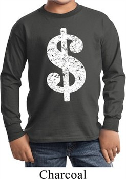 Kids Funny Shirt Distressed Dollar Sign Long Sleeve Tee T-Shirt
