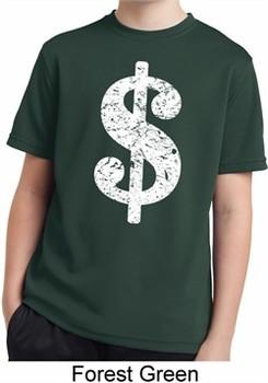 Kids Funny Shirt Distressed Dollar Sign Moisture Wicking Tee T-Shirt