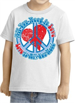 Kids Peace Shirt All You Need is Love Toddler Tee T-Shirt