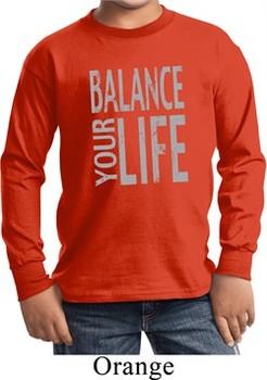 Kids Yoga Shirt Balance Your Life Long Sleeve Tee T-Shirt