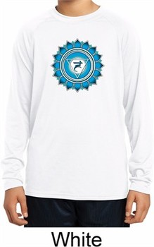 Kids Yoga Shirt Blue Vishuddha Dry Wicking Long Sleeve Tee T-Shirt