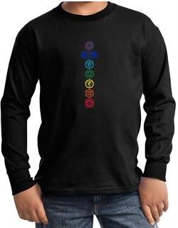 Kids Yoga T-Shirt 7 Colored Chakras Youth Long Sleeve Shirt