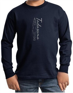Kids Yoga T-shirt Tadasana Mountain Pose Youth Long Sleeve Shirt