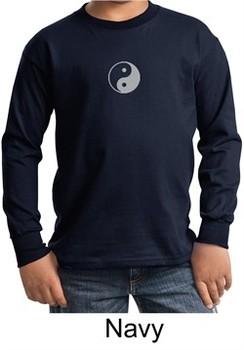 Kids Yoga T-shirt Yin Yang Meditation Youth Long Sleeve Shirt