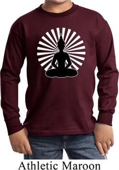 Kids Yoga Tee Meditating Buddha Youth Long Sleeve Shirt