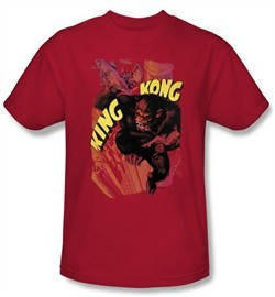 King Kong T-Shirt Warner Bros Movie Plane Grab Adult Red Tee Shirt