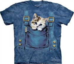 Kitty Shirt Pocket Kitten Adult Tie Dye Tee T-shirt