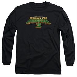 Kung Fu Panda 3 Long Sleeve Shirt Movie Logo Black Tee T-Shirt