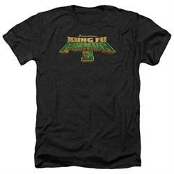 Kung Fu Panda 3 Shirt Movie Logo Heather Black T-Shirt