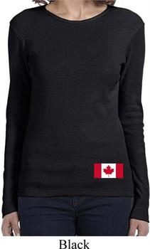 Ladies Canada Tee Canadian Flag Bottom Print Long Sleeve