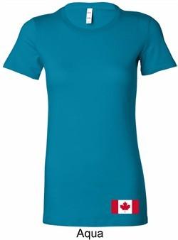 Ladies Canada Tee Canadian Flag Bottom Print Longer Length Shirt