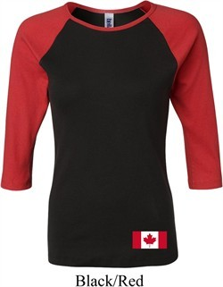 Ladies Canada Tee Canadian Flag Bottom Print Raglan Shirt
