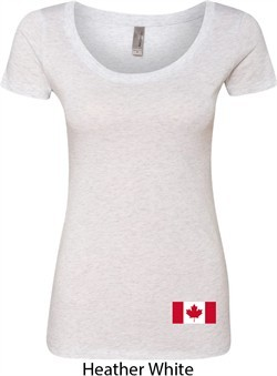Ladies Canada Tee Canadian Flag Bottom Print Scoop Neck