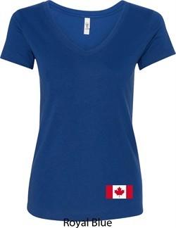 Ladies Canada Tee Canadian Flag Bottom Print V-Neck