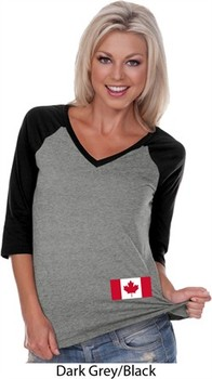 Ladies Canada Tee Canadian Flag Bottom Print V-neck Raglan