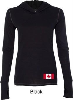 Ladies Canadian Flag Bottom Print Tri Blend Hoodie