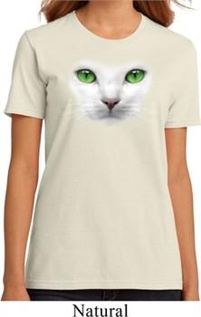 Ladies Cat Shirt Green Eyes Cat Organic Tee T-Shirt