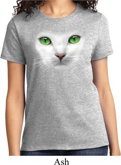 Ladies Cat Shirt Green Eyes Cat Tee T-Shirt