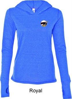 Ladies Dodge Scat Pack Logo Pocket Print Tri Blend Hoodie Shirt