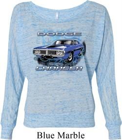 Ladies Dodge Shirt Blue Dodge Charger Off Shoulder Tee T-Shirt