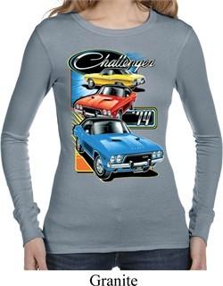Ladies Dodge Shirt Challenger Trio Long Sleeve Thermal Tee T-Shirt