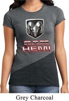 Ladies Dodge Shirt Ram Hemi Logo Tri Blend Crewneck Tee T-Shirt