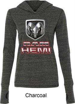 Ladies Dodge Shirt Ram Hemi Logo Tri Blend Hoodie Tee T-Shirt