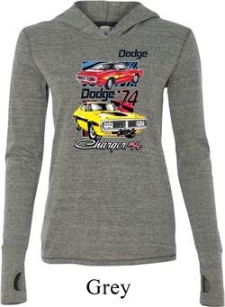 Ladies Dodge Shirt Vintage Chargers Grey Tri Blend Hoodie Tee T-Shirt