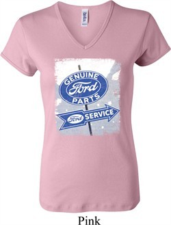 Ladies Ford Shirt Vintage Sign Genuine Ford Parts V-neck Tee T-Shirt