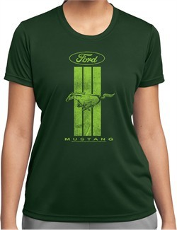 Ladies Ford Tee Green Mustang Stripe Dry Wicking T-shirt