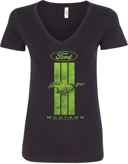 Ladies Ford Tee Green Mustang Stripe V-Neck