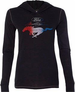 Ladies Ford Tee Mustang Red White and Blue Tri Blend Hoodie